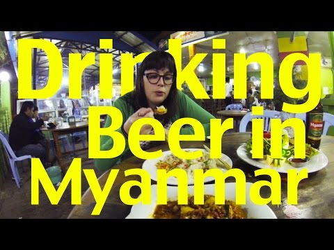 Eating and Drinking at a Myanmar Beer Garden