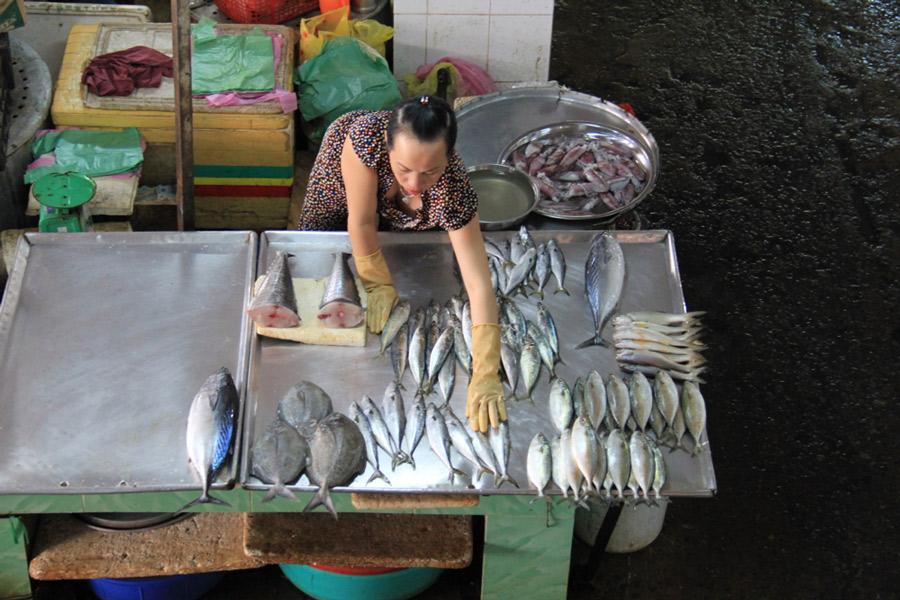 Fish sales lady in Ben Tre, Vietnam