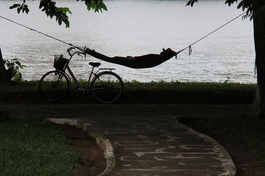 Napping at the Perfume River in Hue, Vietnam