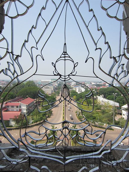 Vientiane's Arc de Triumph window