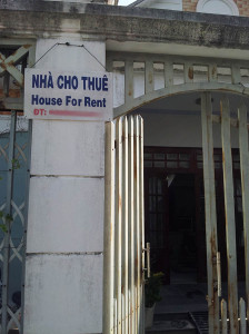 House for rent sign Vietnam