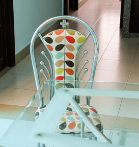 A chair at a table in a Vietnamese dining room