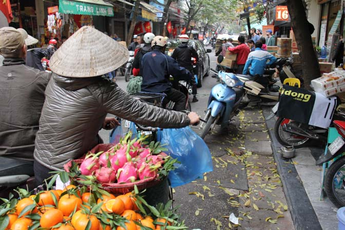 Fruit seller in the old quarters of Hanoi, VIetnam