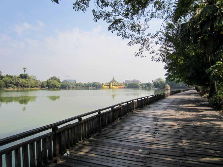 Kandawgyi Lake with the Karaweik Hall in the background.