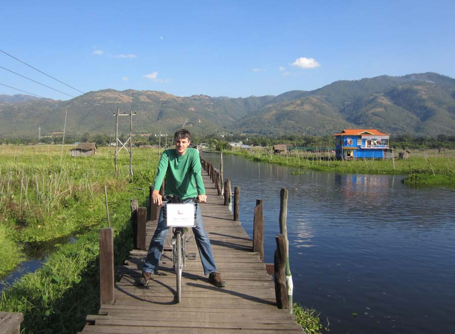 Bicycle riding in Inle Lake, Myanmar