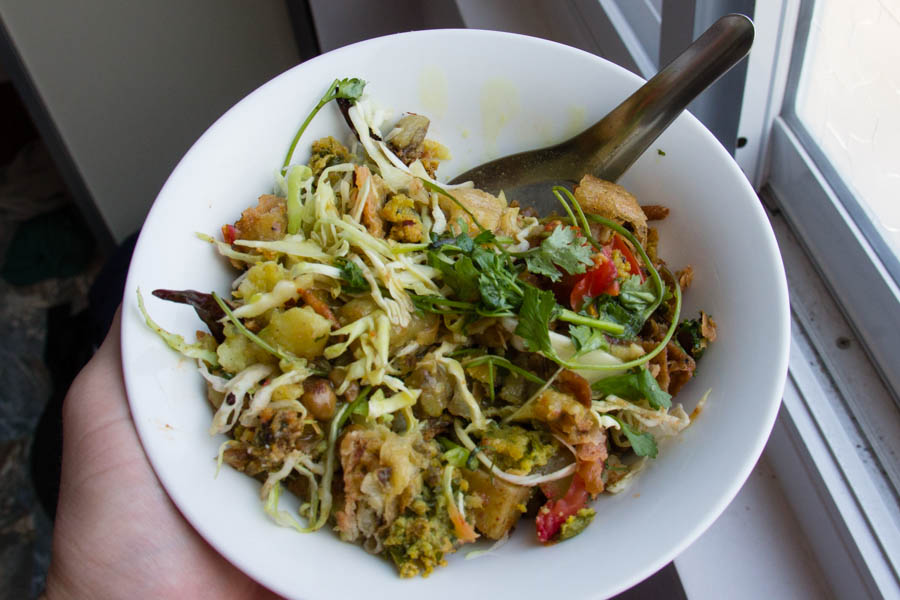 samosa salad in Yangon, Myanmar