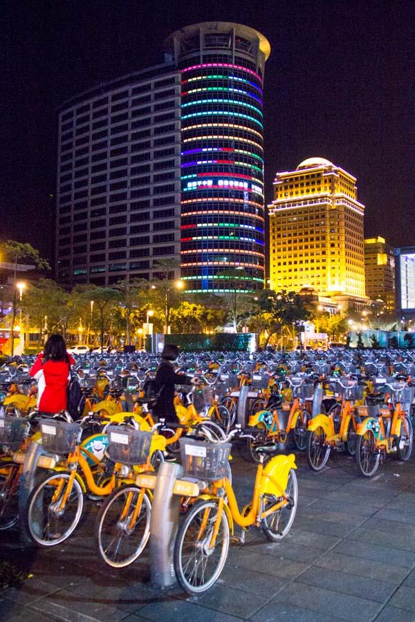 Ubike station at night in Taipei, Taiwan