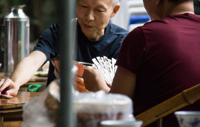 Card playing in People's Park Chengdu China