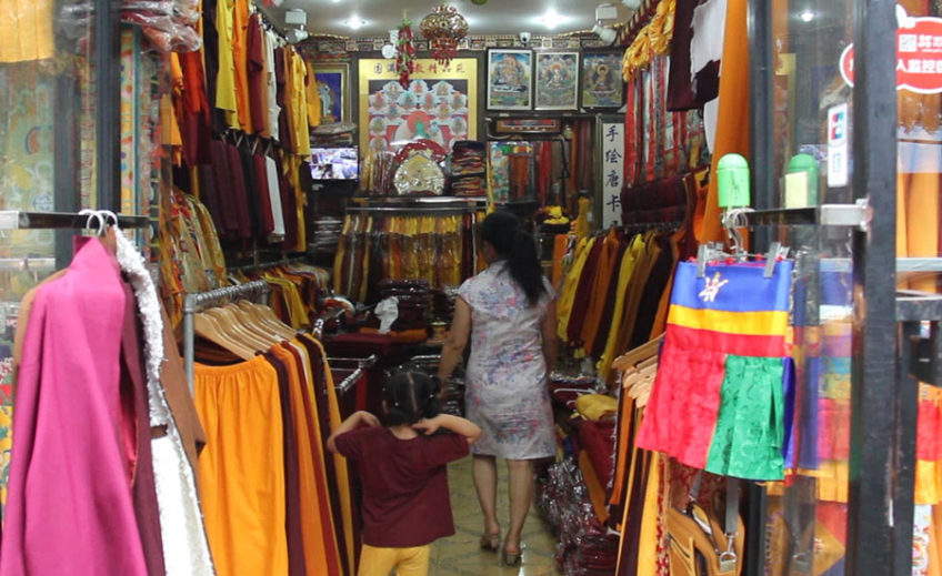 Tibetan quarters clothing store with monk robes