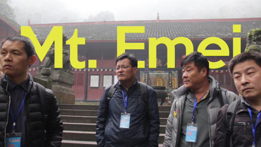 Mount Emei temple with people
